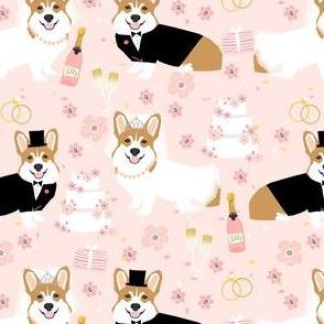 corgi wedding fabric - cute corgis getting married florals, celebration, spring, summer dog design - blush