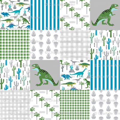 dino quilt  dinosaurs nursery cheater quilt
