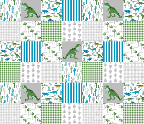 dino quilt  dinosaurs nursery cheater quilt  fabric by charlottewinter on Spoonflower - custom fabric