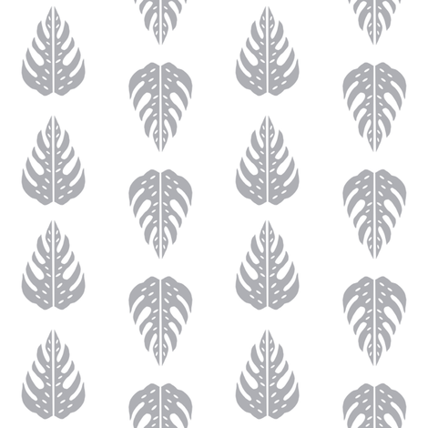 dino quilt coordinate monstera leaf grey and white dinosaur nursery cheater quilt  fabric by charlottewinter on Spoonflower - custom fabric
