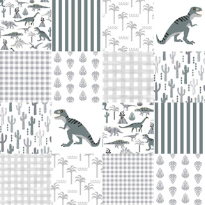 dino quilt grey and white dinosaur nursery cheater quilt