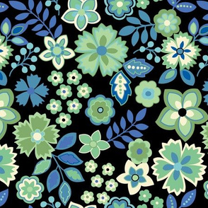 Mixed Flowers Blue