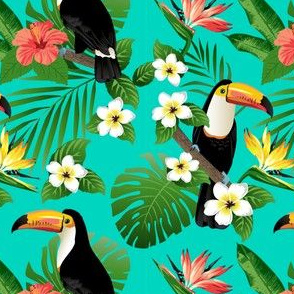 Tucan on Teal Tropical Birds Tropical Plants Hibiscus Bird of Paradise