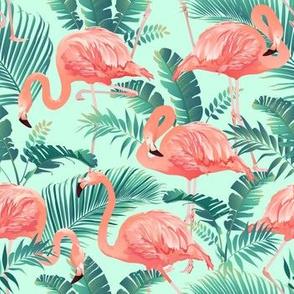 Flamingos on Teal Tropical Birds Tropical Plants