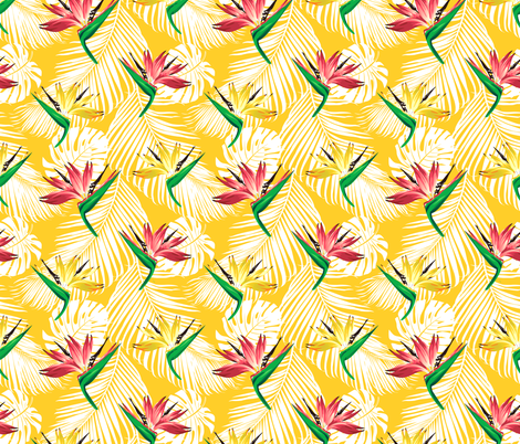 Troical Bird of Paradise Flower Plant fabric by khaus on Spoonflower - custom fabric