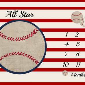 ALL Star Baseball growth chart 54 - cream red stripes