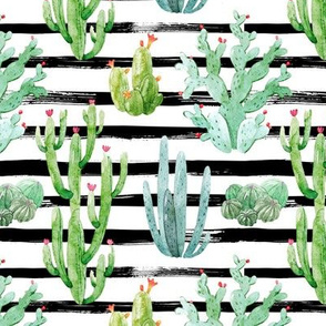 "6"" Watercolor Desert Cactus // Black Stripes"