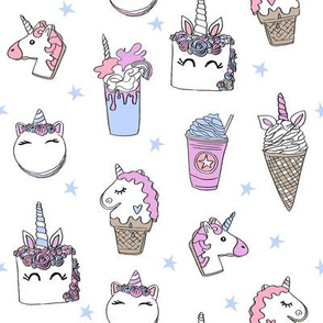 unicorn food // ice cream cone unicorns cake cute kawaii rainbows fabric white