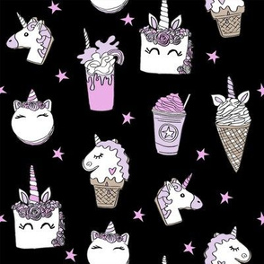 unicorn food // ice cream cone unicorns cake cute kawaii rainbows fabric black