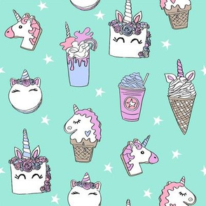 unicorn food // ice cream cone unicorns cake cute kawaii rainbows fabric minty