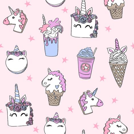 unicorn food // ice cream cone unicorns cake cute kawaii rainbows fabric pastel pink fabric by andrea_lauren on Spoonflower - custom fabric