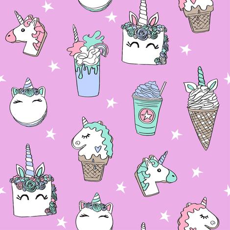 unicorn food // ice cream cone unicorns cake cute kawaii rainbows fabric pink fabric by andrea_lauren on Spoonflower - custom fabric