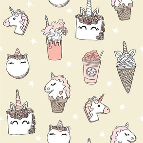 unicorn food // ice cream cone unicorns cake cute kawaii rainbows fabric beige