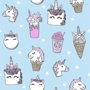 unicorn food // ice cream cone unicorns cake cute kawaii rainbows fabric blue