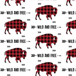 Wild and Free Bison - Black + Red Buffalo Plaid Check Baby Boy Bedding GingerLous