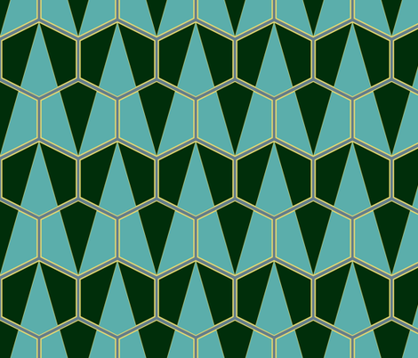 Art Deco Hexagon triangles fabric by pimento on Spoonflower - custom fabric
