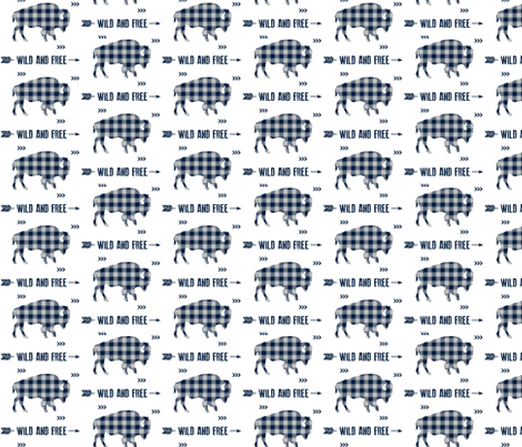Wild and Free Bison - Navy + Grey Buffalo Plaid Check Baby Boy Bedding GingerLous fabric by gingerlous on Spoonflower - custom fabric