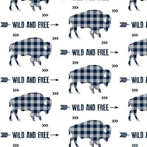 Wild and Free Bison - Navy + Grey Buffalo Plaid Check Baby Boy Bedding GingerLous