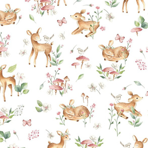 Large Baby Deer with flowers  white / Woodland Deer / Forest Animals/ Nursery Fabric