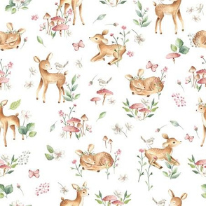 Small- Baby Deer with flower- white / Woodland Deer / Forest Animals/ Nursery Fabric