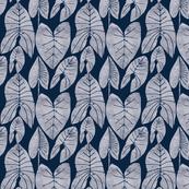 Palm Leaf in Midnight Blue