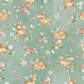 Large- Baby Deer with flowers - green / Woodland Deer / Forest Animals/ Nursery Fabric