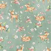 Small - Baby Deer with flowers  green/ Woodland Deer / Forest Animals/ Nursery Fabric