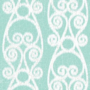 Crackled Scrolled Ikat Blue Off White