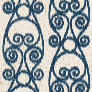 Crackled Scrolled Ikat Cream Navy