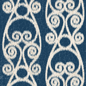 Crackled Scrolled Ikat Navy Cream