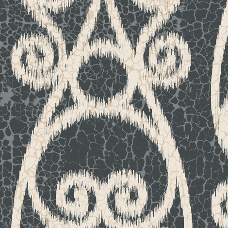 Crackled Scrolled Ikat Black Ink Cream fabric by wickedrefined on Spoonflower - custom fabric