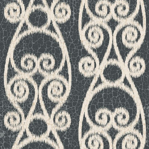 Crackled Scrolled Ikat Black Ink Cream