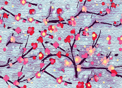cherry blossum watercolor-purple blue sky