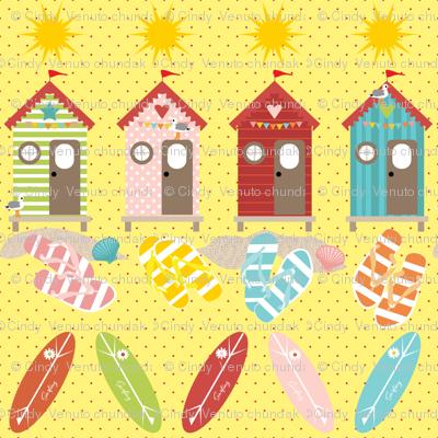 Summer Flip Flops on Yellow, Red Polka Dots, Beach, Surfing, Seagulls, Vacation, Beach hut