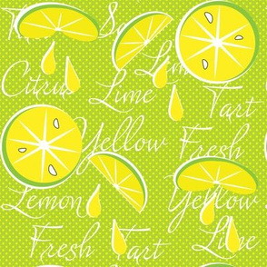 Lemons on Lime, Polka Dot, June, July, August, Summer Fabrics, Kitchen Fabric, Picnic Fabric