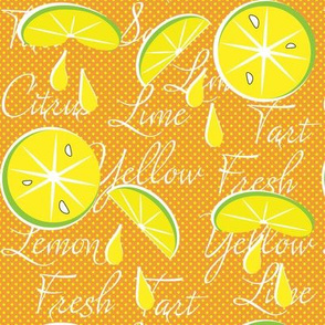 Lemons on Orange, Polka Dot, June, July, August, Summer Fabrics, Kitchen Fabric, Picnic Fabric