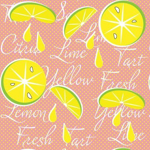 Lemons on Pink Lemonade, Polka Dot, June, July, August, Summer Fabrics, Kitchen Fabric, Picnic Fabric