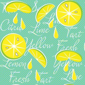 Lemons on Teal, Polka Dot, June, July, August, Summer Fabrics, Kitchen Fabric, Picnic Fabric