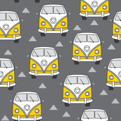vintage yellow camper vans on charcoal