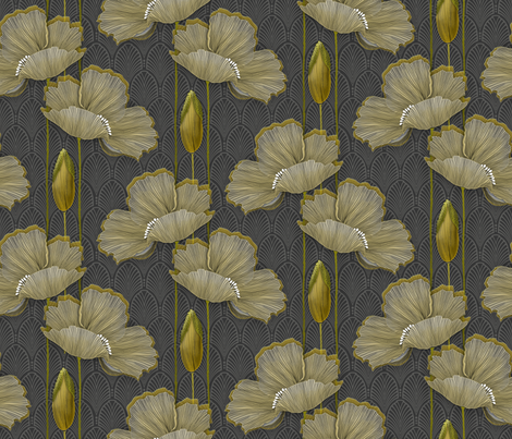 Art Deco fleurs d'or fabric by j9design on Spoonflower - custom fabric