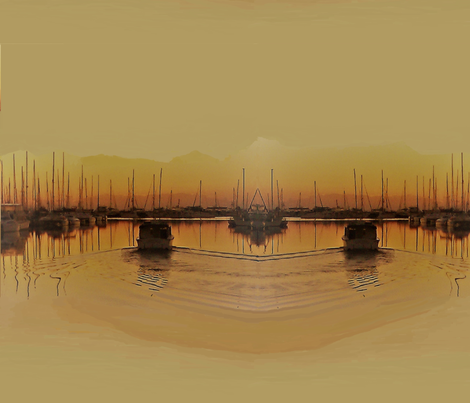 first boat out in gold 2 fabric by art_by_rita on Spoonflower - custom fabric