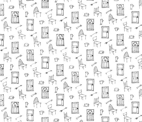 doors chairs cups arrows fabric by quoin on Spoonflower - custom fabric