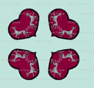 Sighthounds_RedHeart/MintBackground-For Cushions bags etc._Quad