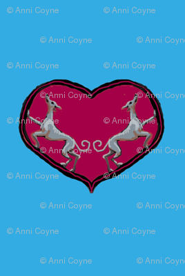 Sighthounds_RoseHeart/Blue Background-For collars
