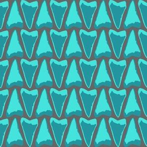 shark teeth teal grey