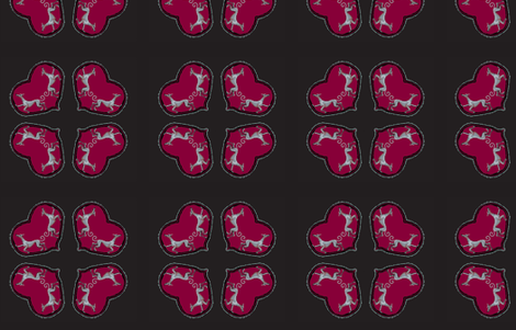 Sighthounds_RedHeart/BlackBackground--V-quad-forCushions fabric by cloudsong_art on Spoonflower - custom fabric