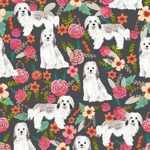havanese floral fabric dogs and flowers design - charcoal
