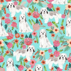 havanese floral fabric dogs and flowers design - aqua