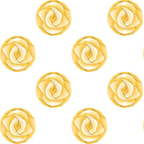 Yellow Rose Polka Dots on White