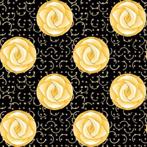 Yellow Rose Polka Dots on Black
